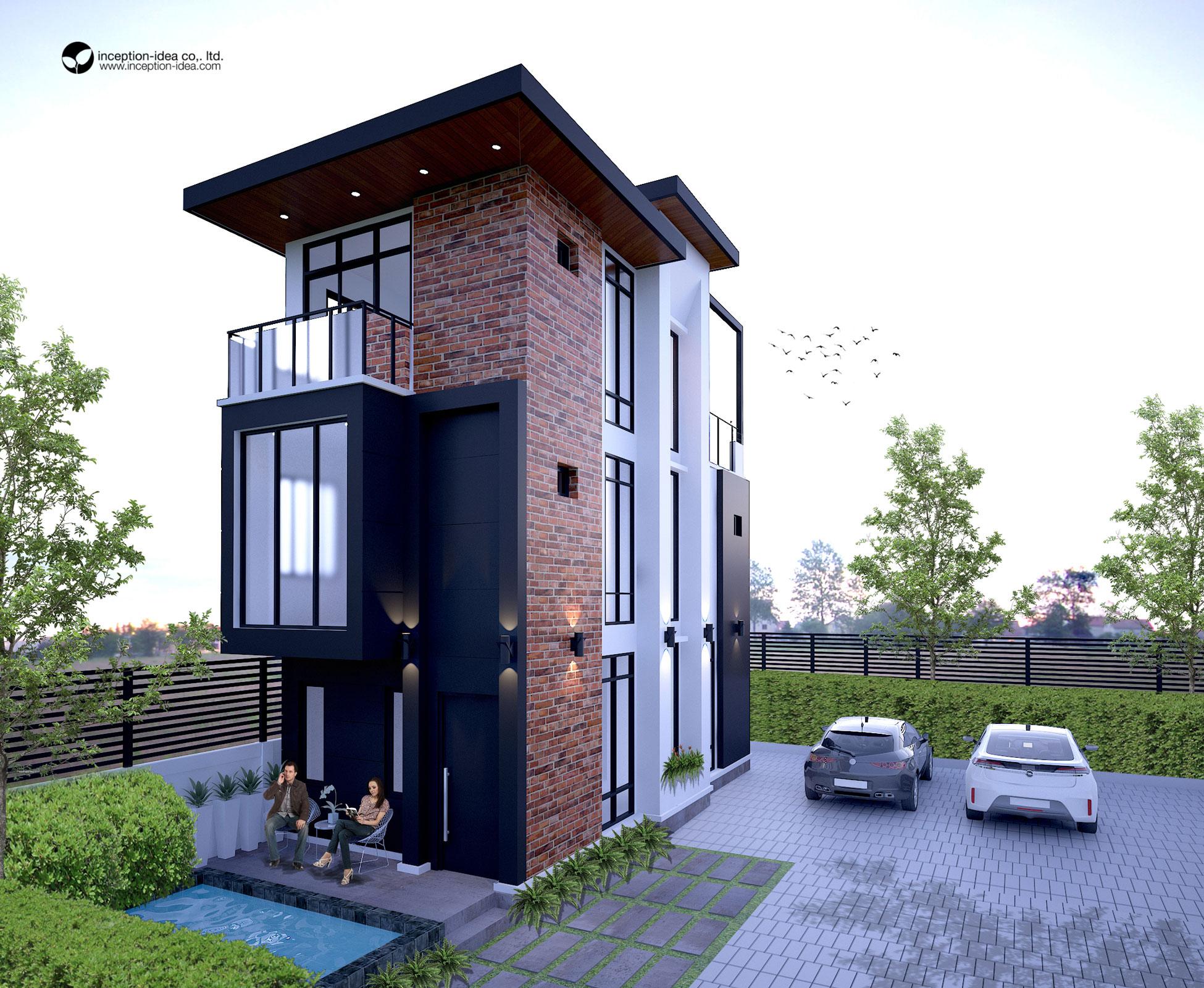 ออกแบบอาคาร3ชั้น หมู่บ้านโนเบิล วัชรพล กรุงเทพ